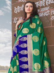 Weaving Art Silk Designer Traditional Saree in Green