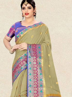 Weaving Art Silk Designer Traditional Saree in Green
