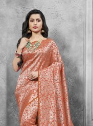 Weaving Art Silk Designer Traditional Saree in Orange