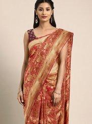 Weaving Art Silk Designer Traditional Saree in Orange