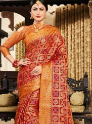 Weaving Art Silk Designer Traditional Saree in Orange and Red