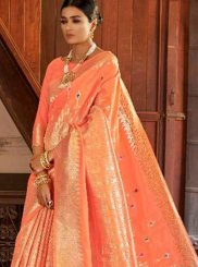 Weaving Art Silk Designer Traditional Saree in Peach