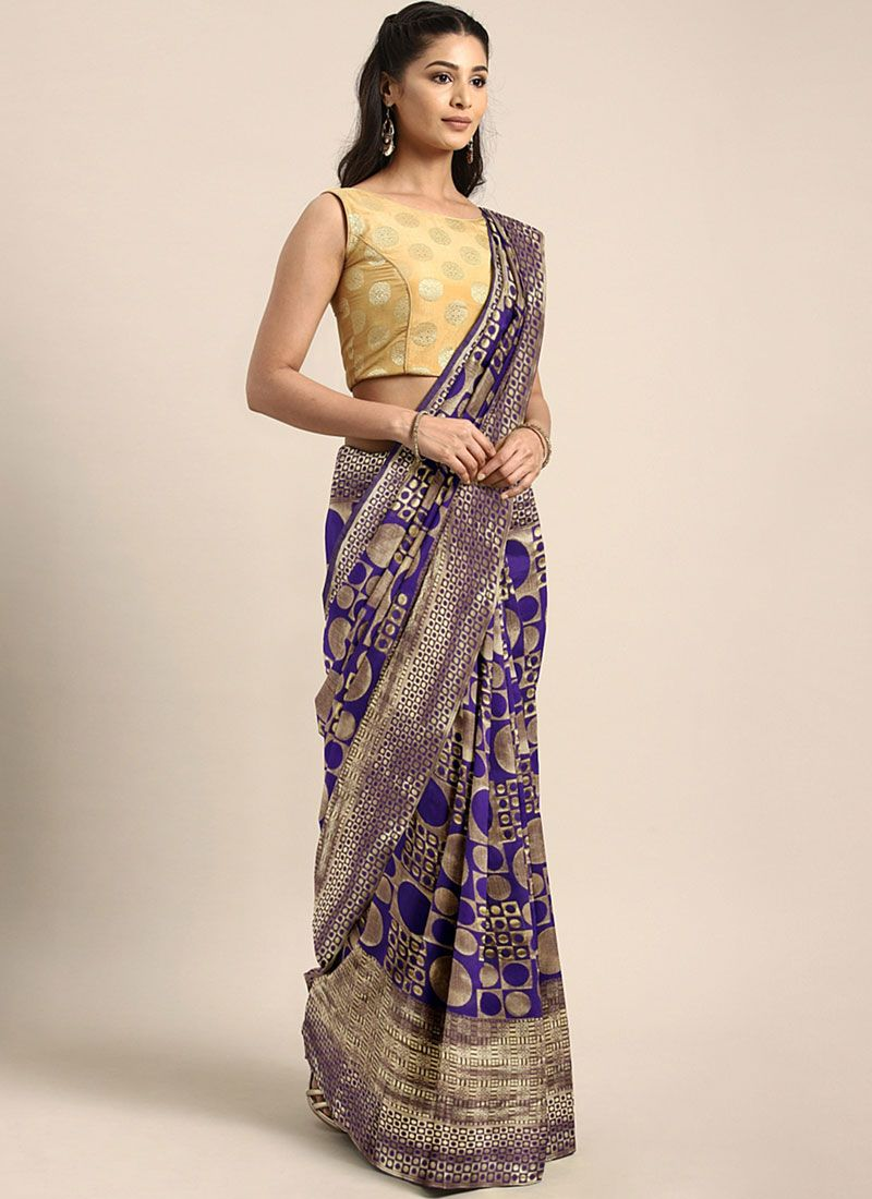 Weaving Art Silk Designer Traditional Saree in Violet