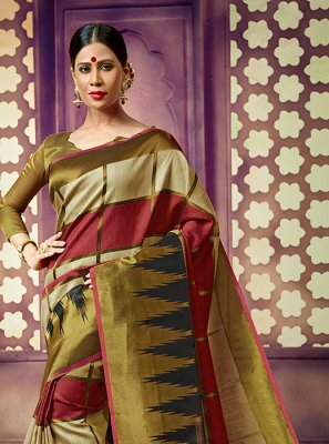 Weaving Art Silk Green and Maroon Classic Saree