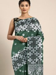 Weaving Art Silk Green Designer Traditional Saree