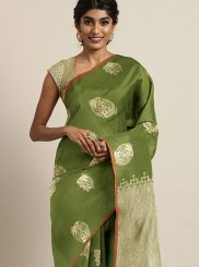 Weaving Art Silk Green Traditional Saree
