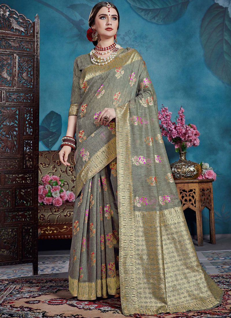 Weaving Art Silk Grey Casual Saree