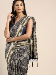 Weaving Art Silk Grey Traditional Designer Saree