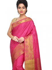 Weaving Art Silk Hot Pink Designer Traditional Saree