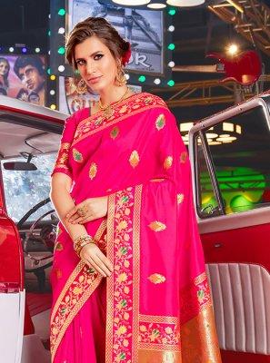 Weaving Art Silk Hot Pink Traditional Designer Saree
