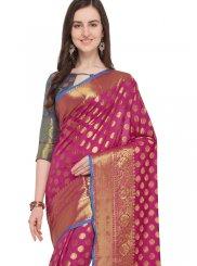 Weaving Art Silk Hot Pink Traditional Saree