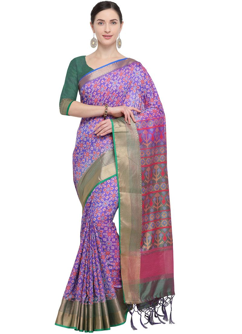 Weaving Art Silk Lavender Designer Traditional Saree