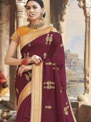 Weaving Art Silk Magenta Classic Designer Saree