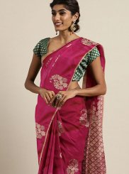 Weaving Art Silk Maroon and Pink Silk Saree