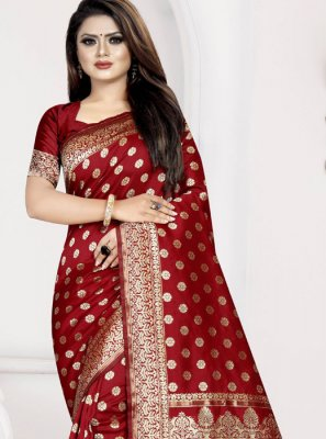 Weaving Art Silk Maroon Designer Traditional Saree