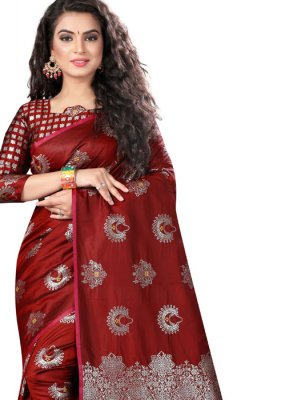 Weaving Art Silk Maroon Traditional Designer Saree