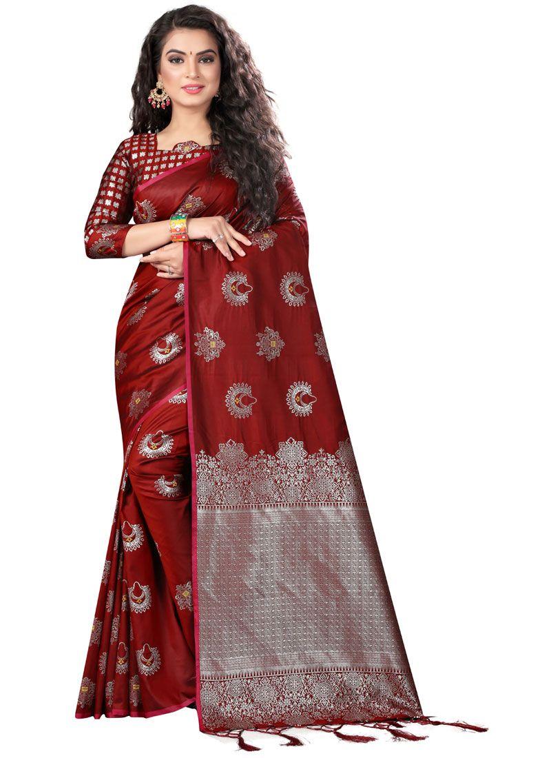 Weaving Art Silk Maroon Traditional Designer Saree