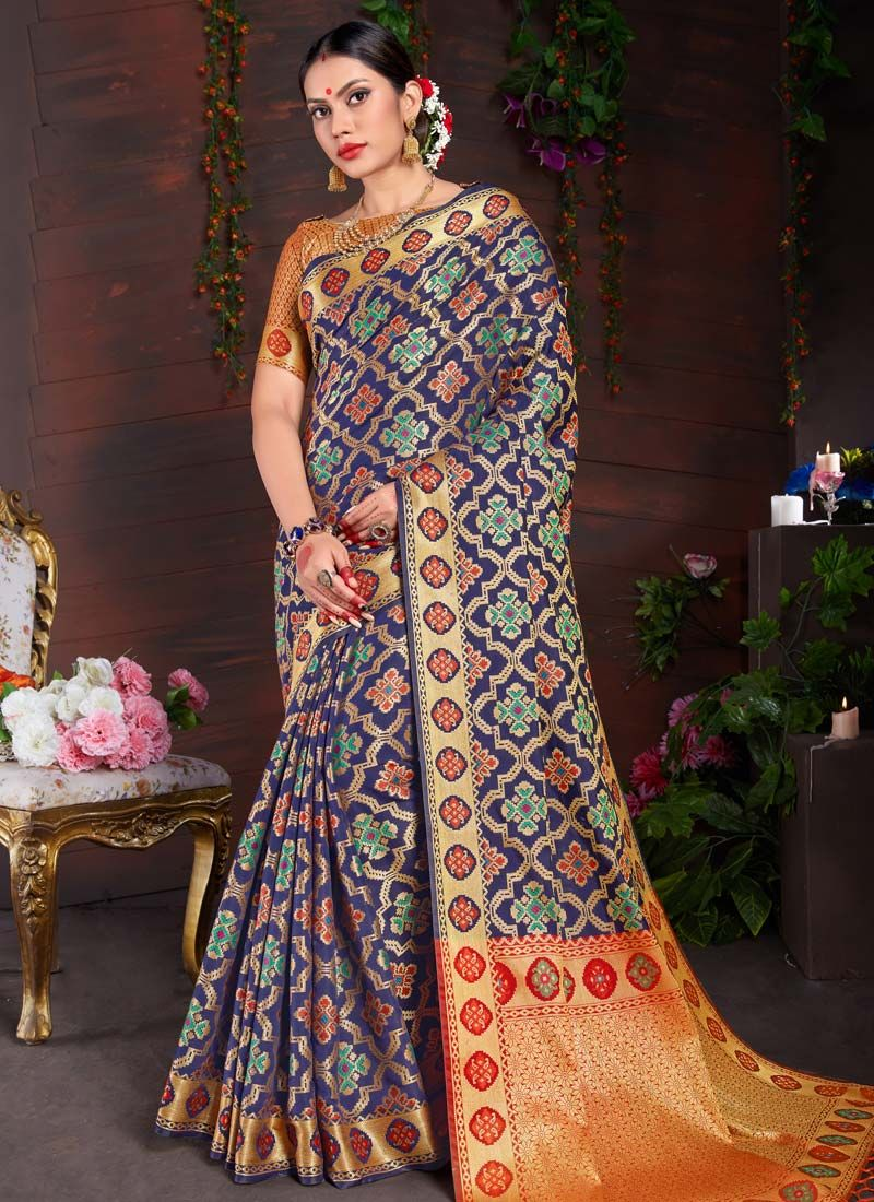 Weaving Art Silk Navy Blue Designer Traditional Saree