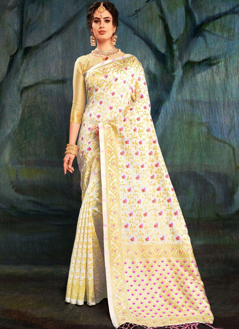 Weaving Art Silk Off White Designer Traditional Saree