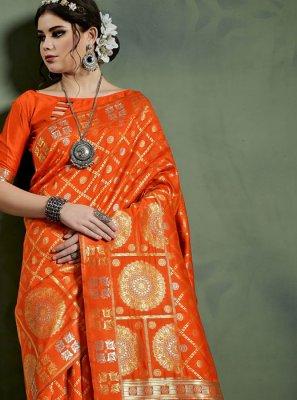Weaving Art Silk Orange Designer Traditional Saree