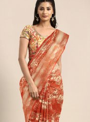Weaving Art Silk Orange Designer Traditional Saree