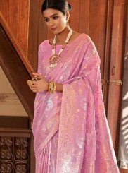 Weaving Art Silk Pink Designer Traditional Saree