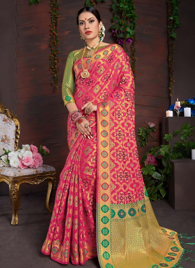 Weaving Art Silk Pink Traditional Designer Saree