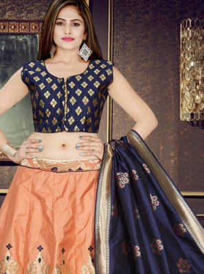 Weaving Art Silk Readymade Lehenga Choli in Orange