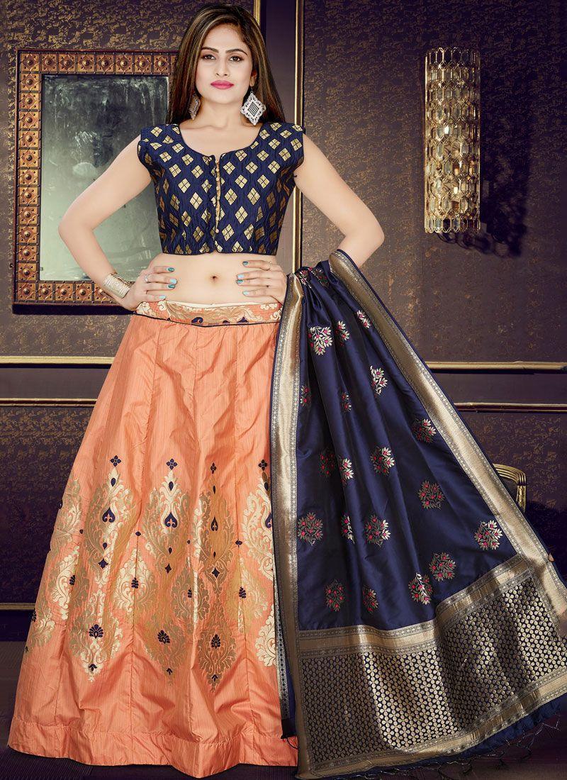 Weaving Art Silk Readymade Lehenga Choli in Orange