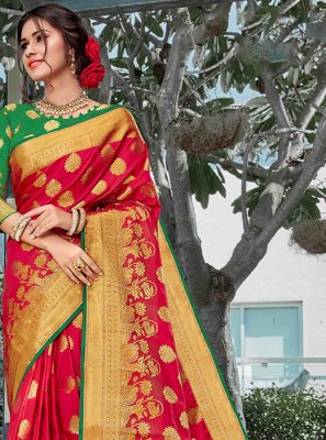 Weaving Art Silk Red Designer Traditional Saree