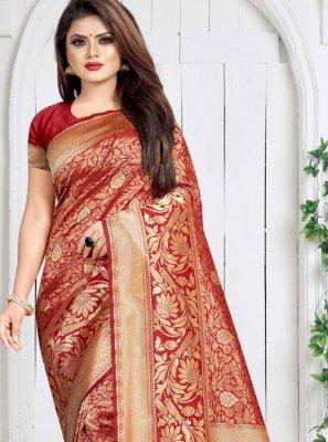 Weaving Art Silk Red Silk Saree