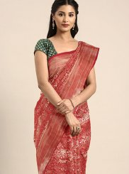 Weaving Art Silk Red Traditional Designer Saree