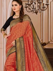 Weaving Art Silk Red Traditional Saree