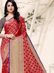 Weaving Art Silk Red Traditional Saree