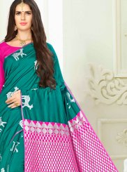 Weaving Art Silk Sea Green Traditional Designer Saree