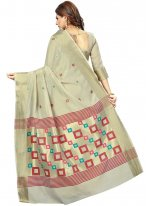 Weaving Art Silk Silk Saree in Cream