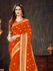 Weaving Art Silk Silk Saree in Orange