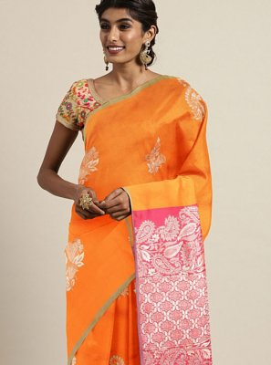 Weaving Art Silk Silk Saree in Orange
