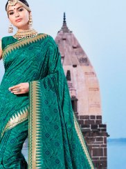 Weaving Art Silk Teal Traditional Designer Saree