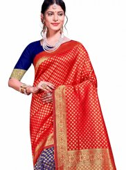 Weaving Art Silk Traditional Designer Saree in Blue and Red
