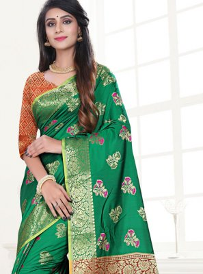 Weaving Art Silk Traditional Designer Saree in Green