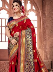 Weaving Art Silk Traditional Designer Saree in Maroon