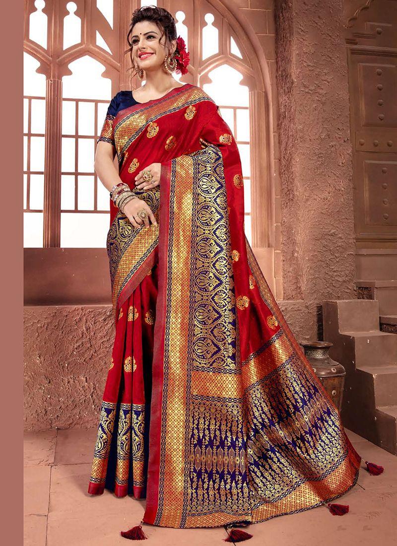 Weaving Art Silk Traditional Designer Saree in Maroon