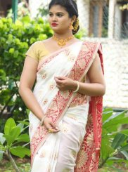 Weaving Art Silk Traditional Designer Saree in White