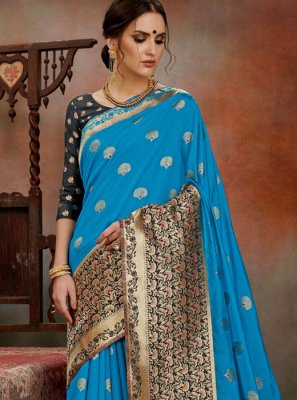 Weaving Art Silk Traditional Saree in Blue