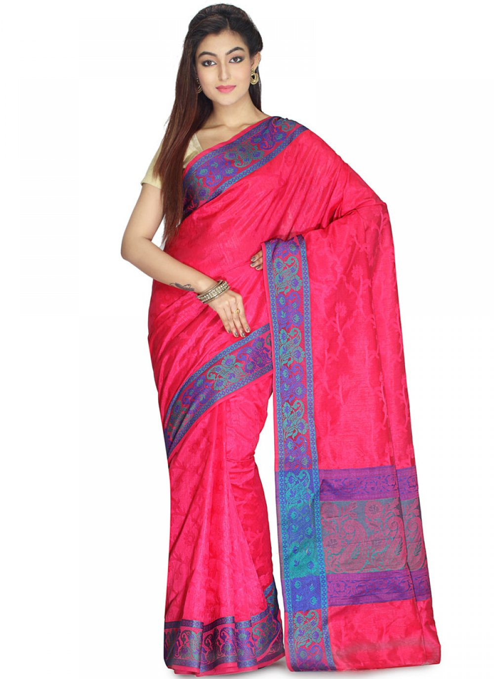 Weaving Art Silk Traditional Saree in Hot Pink