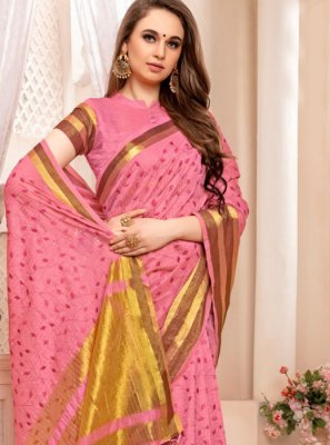 Weaving Art Silk Traditional Saree in Pink