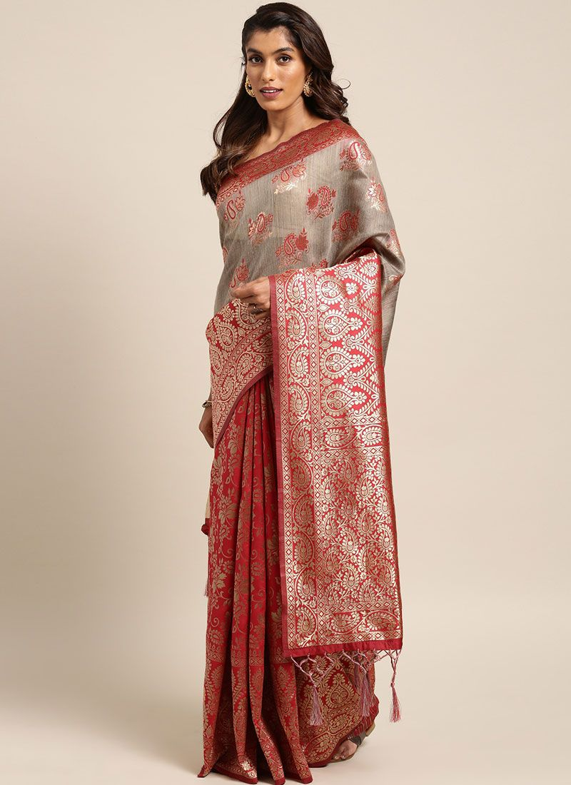 Weaving Art Silk Traditional Saree in Red