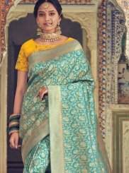 Weaving Art Silk Turquoise Traditional Saree