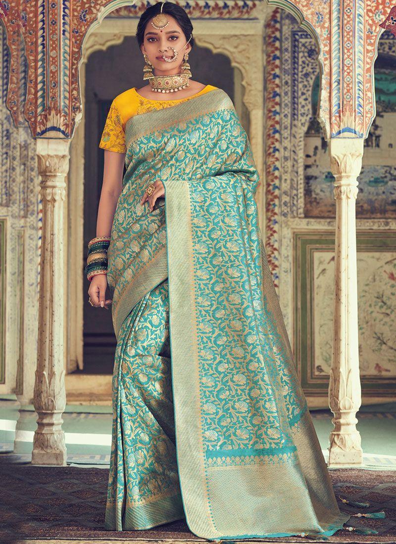 Weaving Art Silk Turquoise Traditional Saree